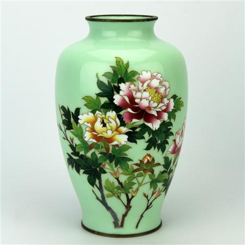 Cloisonne Green Floral Vase