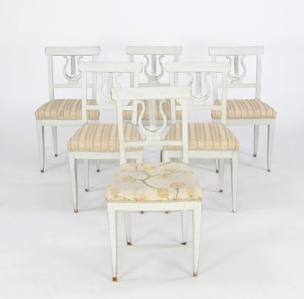 A set of six grey-painted Swedish late Empire side chairs