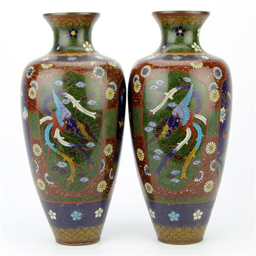 Cloisonne Pair of Vases