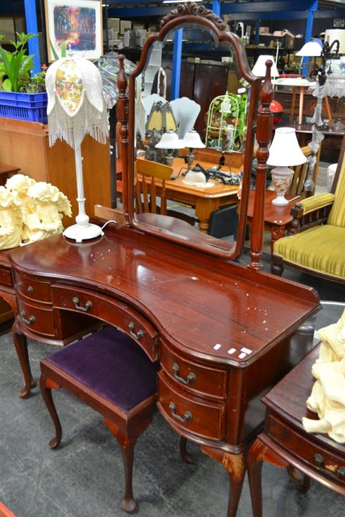 Timber Mirrored Back Dresser on Cabriole Legs & Upholstered Top Stool