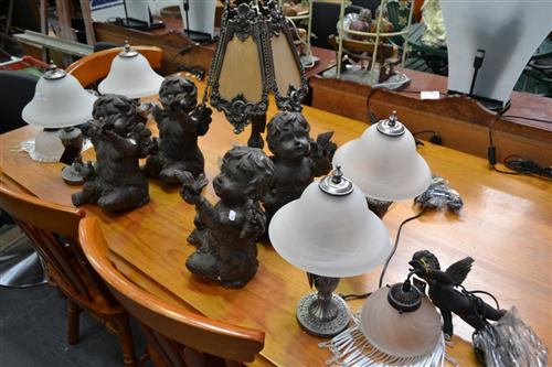 Set of 4 Cherub Figures, 4 Glass Shade Table Lamps, Pair of Cherub Hanging Lights & Brass Style Table Lamp (11)