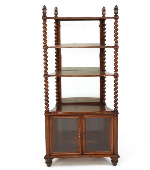 A late Empire rosewood etagere