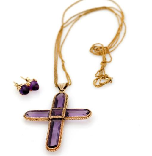 An amethyst jewellery collection of 14k gold comprising a necklace