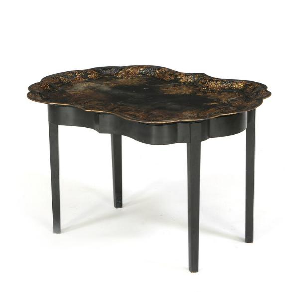 A Victorian tray table with a painted iron tray