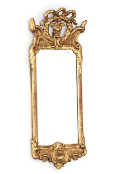 A small Swedish rococo giltwood mirror