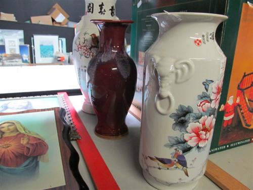 Chinese Famille Rose Painted Vases with Flame Glaze Vase and Another