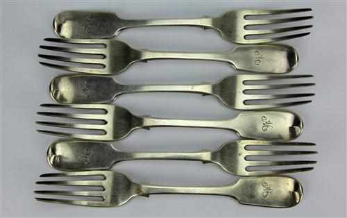 English Hallmarked Sterling Silver William IV Set of Six Main Forks