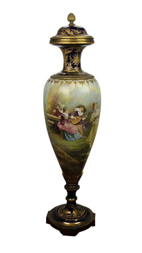 French Revolving Oversized Covered Vase
