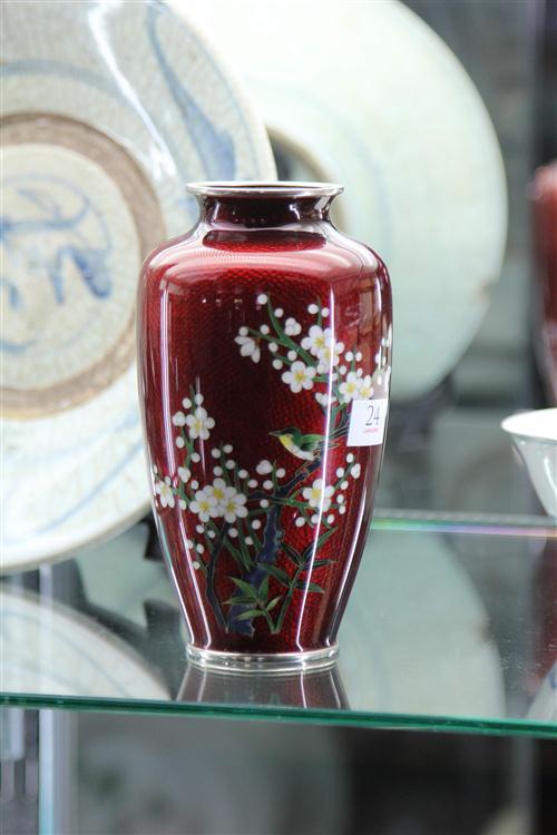 Ginbari Pigeon Blood Cloisonne Vase