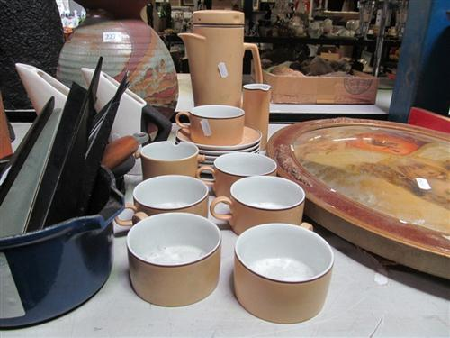 Collection of Sundries incl, Japanese Coffee Wares, Terra Cotta Vase, Clock, Jesus Print, etc