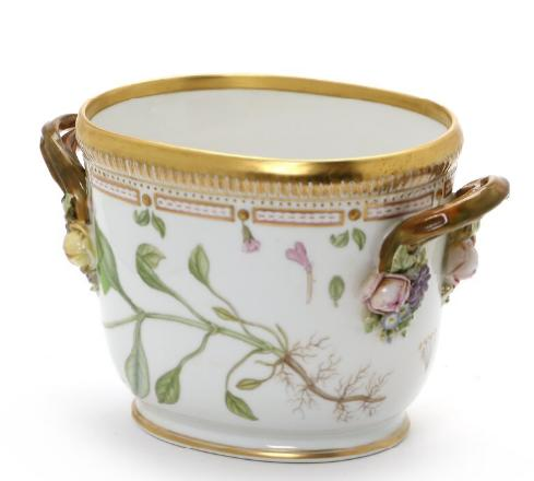"""""""Flora Danica"""" porcelain wine cooler, decorated in colours"""