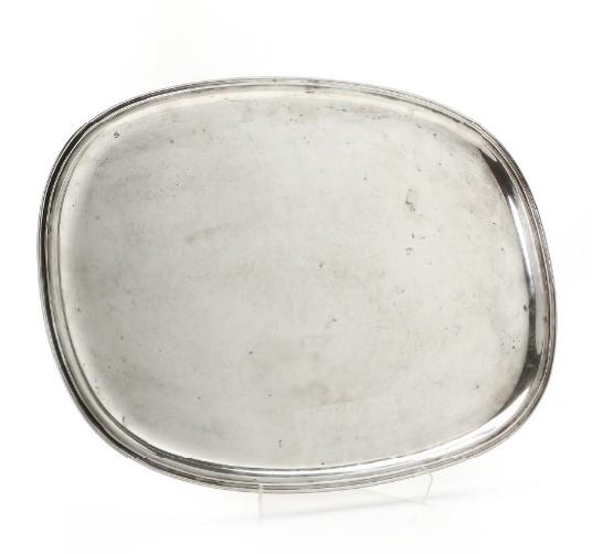 Oval sterling silver tray