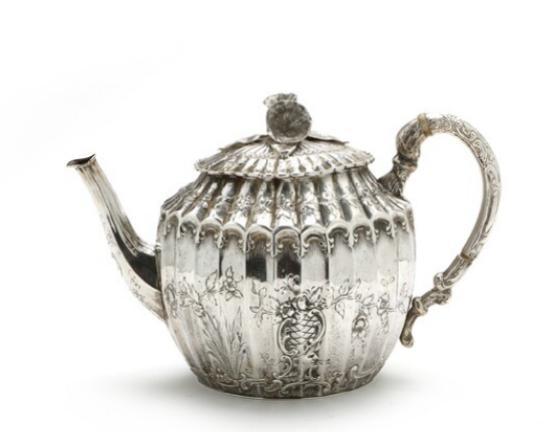 German silver tea pot. J.D. Schleissner & Söhne, Hanau