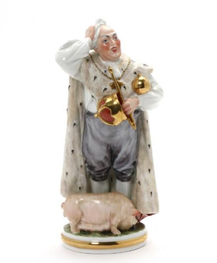 """The Swineherd"" porcelain figur in overglaze colours. 8050. B&G"