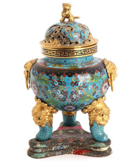 A 20th century Chinese cloisonné and brass incense burner