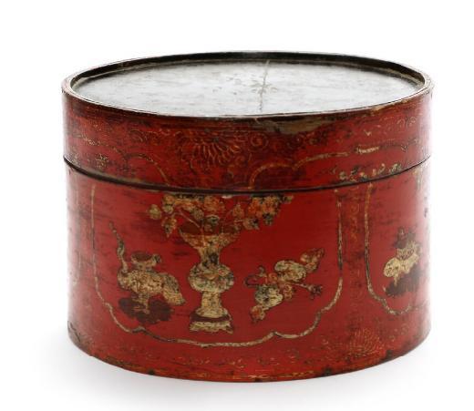 Chinese mandarin hat box. Late Qing. Diam. 39 cm