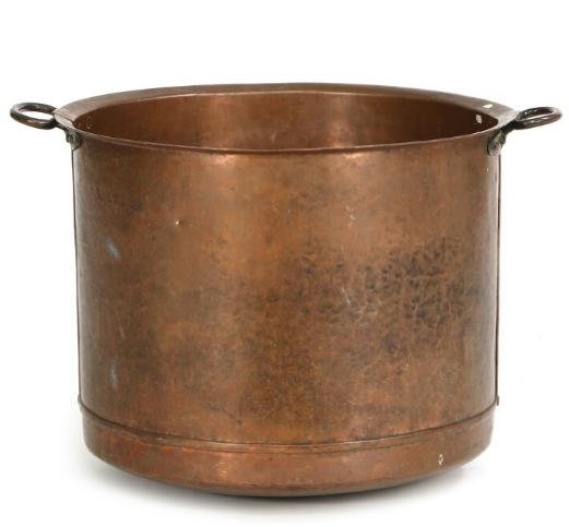 A large copper cauldron