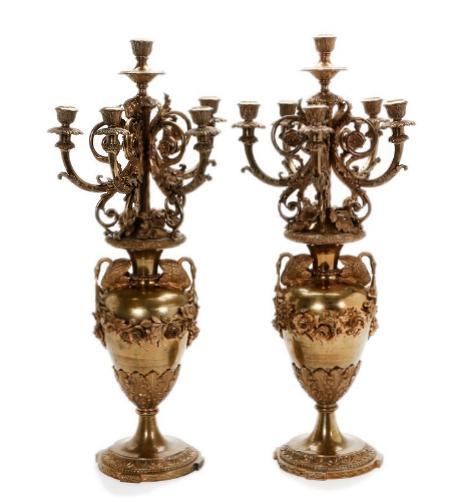 A pair of 19th century Napoleon III bronze candelabra