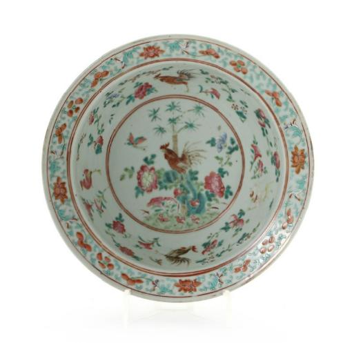 Chinese porcelain wash basin decorated in colours with flowers and rooster