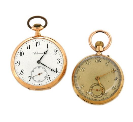 Two 18k gold open-face pocket watches, one signed Election, the other pin-set