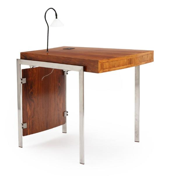 Free-standing rosewood desk with satin polished steel frame