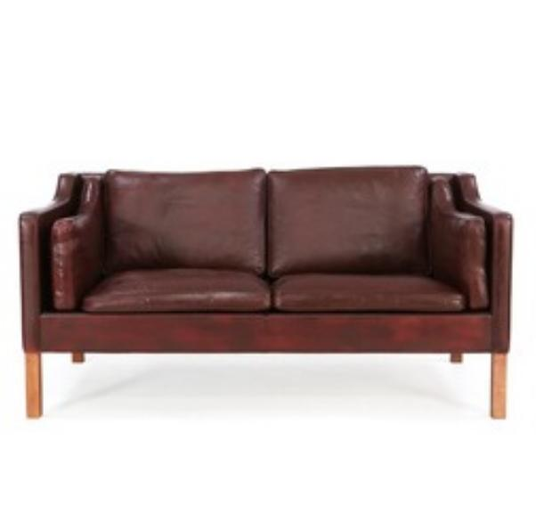 freestanding two seater sofa with legs of mahogany
