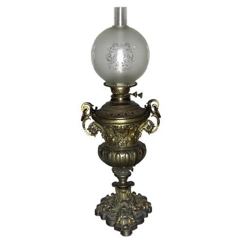 Hinks & Son's Patent Gilded Bronze Kerosene Banquet Lamp