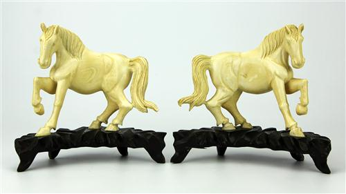 Ivory Carved Pair of Equestrian Statues