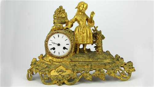 Japy Frères Gilt Metal Figural Mantle Clock