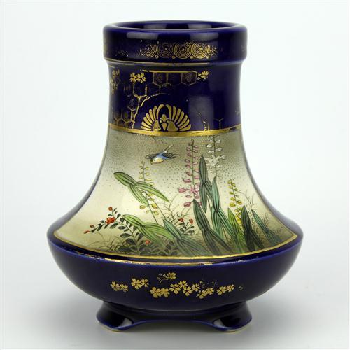 Kinkozan Satsuma Battleaxe Shaped Vase