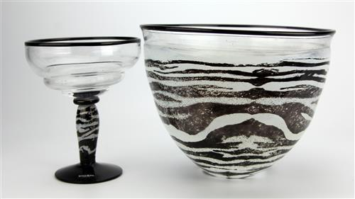 Kosta Boda by Kjell Engman Safari Collection Zebra Stripe Bowl & Vase