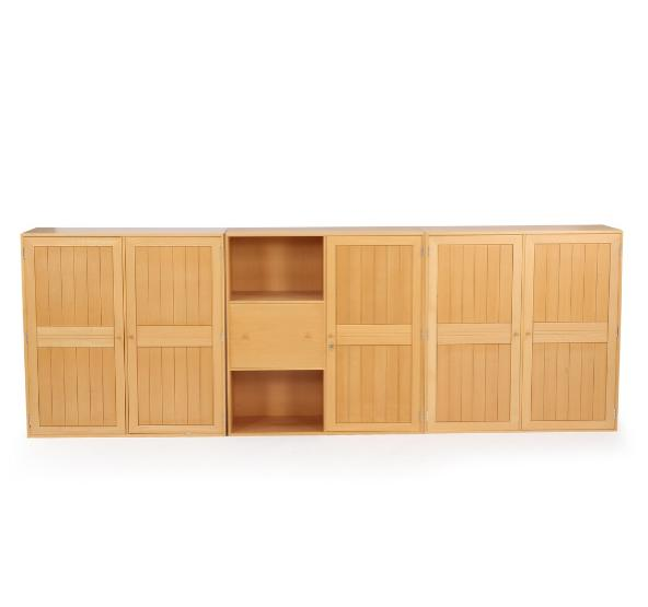 Set of three cabinets of beech