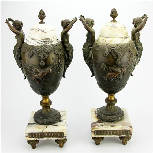 Marble & Spelter Pair of Figural Urns