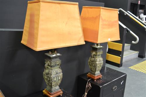 Pair of Bronze Twin Light Table Lamps