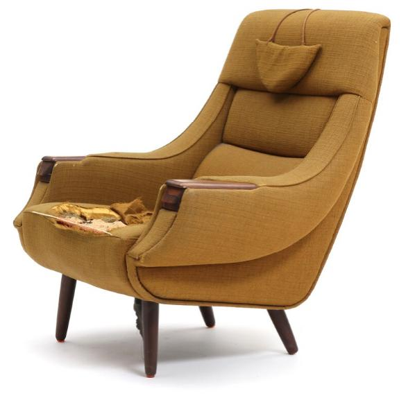 High-backed easy chair