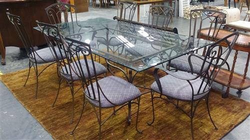 Metal Outdoor Setting Inc Glass Top Table And Eight Chairs