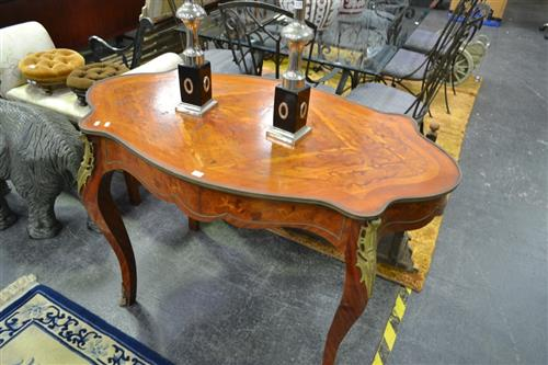 Inlaid Style Table With Metal Mounts