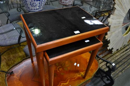 Nest of 2 Tables w Black Glass Tops