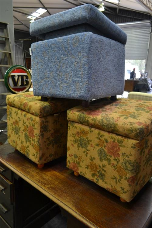 Pair of Blue Upholstered Graduated Ottomans & Pair of Floral Upholstered Ottomans