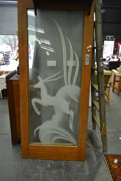 Pair of Etched Glass & Timber Framed Sliding Doors