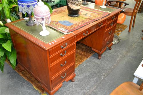 Twin Pedestal Desk with Leather Top