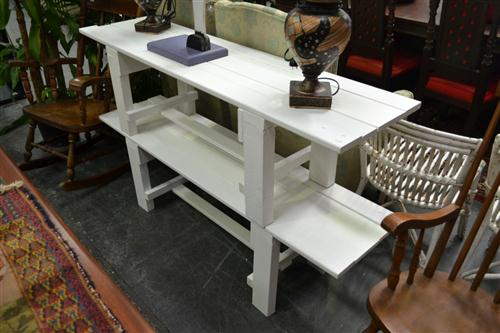 Pair of White Timber Benches