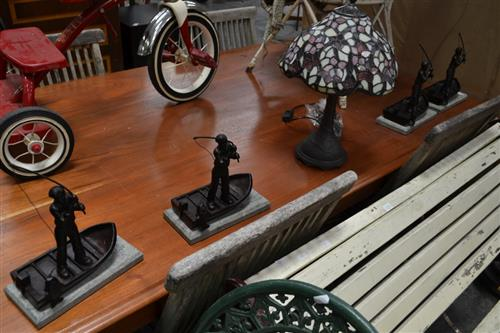 Set of 4 Bronze Style Fisherman Figures on Marble Base & Leadlight Shade Table Lamp (5)