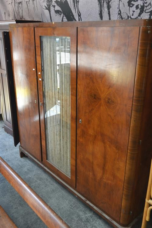 Art Deco Wardrobe with Central Glass Panel