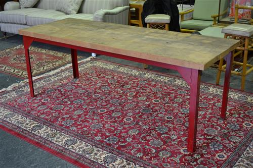 Industrial Timber Top Table on Painted Metal Base