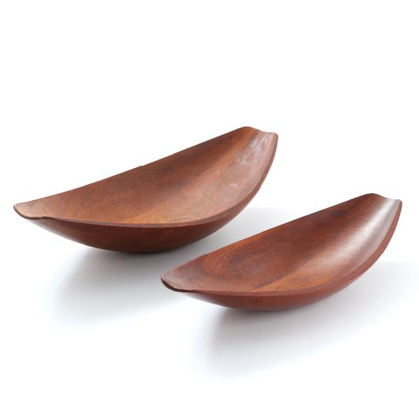 Two boat shaped solid teak serving dishes
