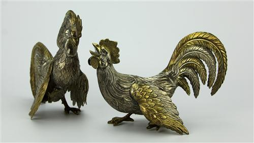 Spanish Sterling Silver Pair of Fighting Cocks