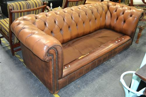 Three Seater Chesterfield Lounge ( Damage to Cushions and Unmatching)