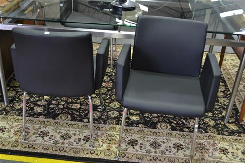 Set of Four Reception Chairs on Chrome Legs