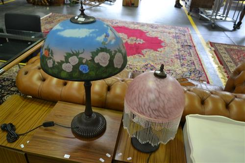 Art Glass Shade Table Lamp & Beaded Shade Table Lamp